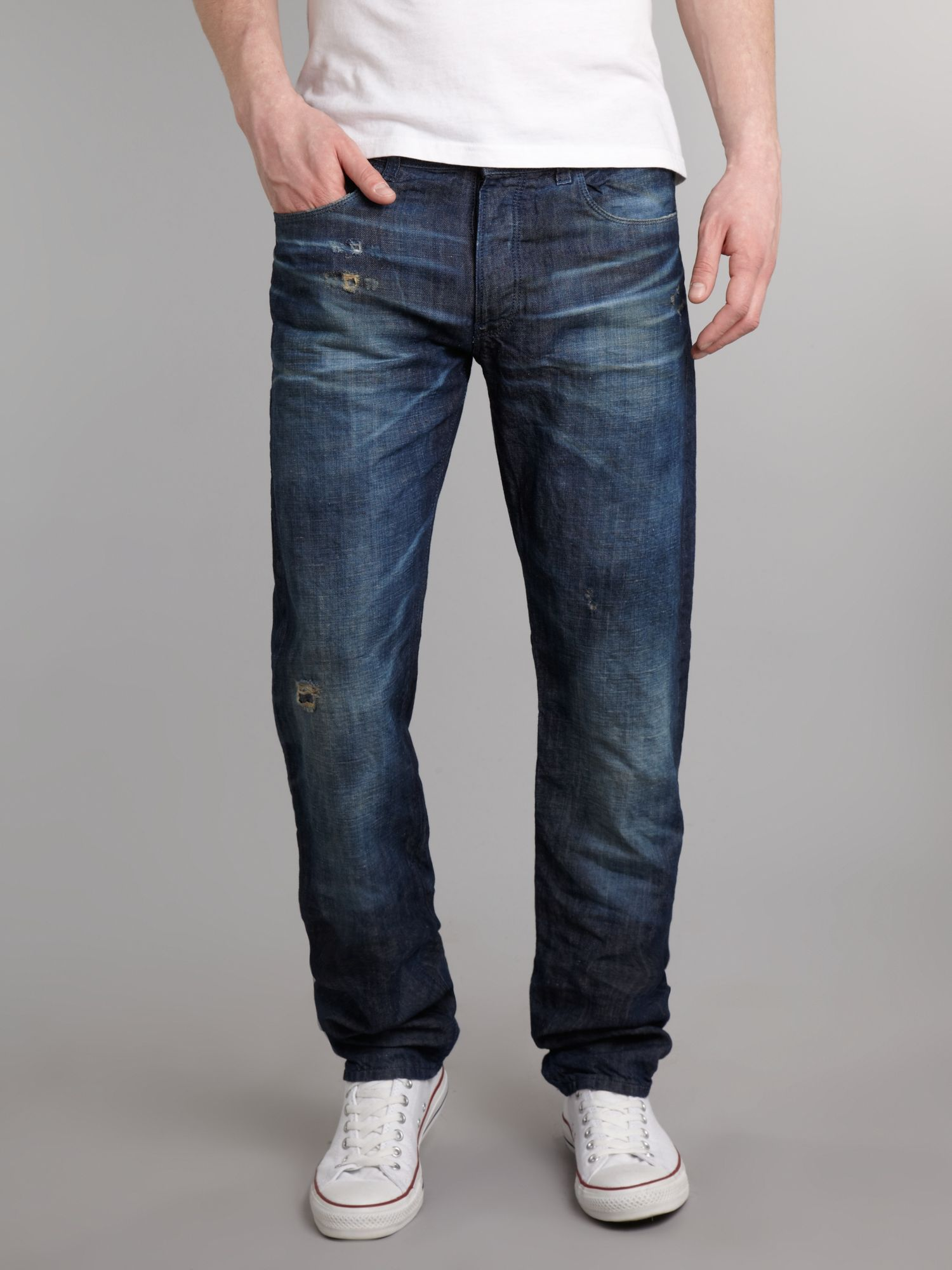 Regular fit ice blast wash jeans
