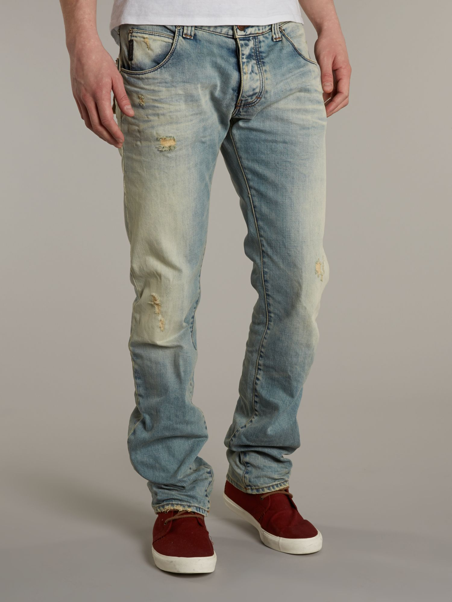 J08 straight mid wash jeans
