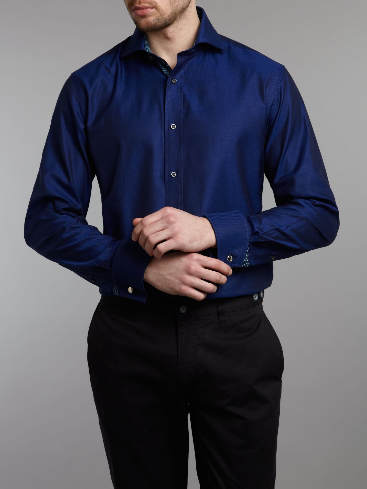 Long sleeved twill sterling double cuff shirt