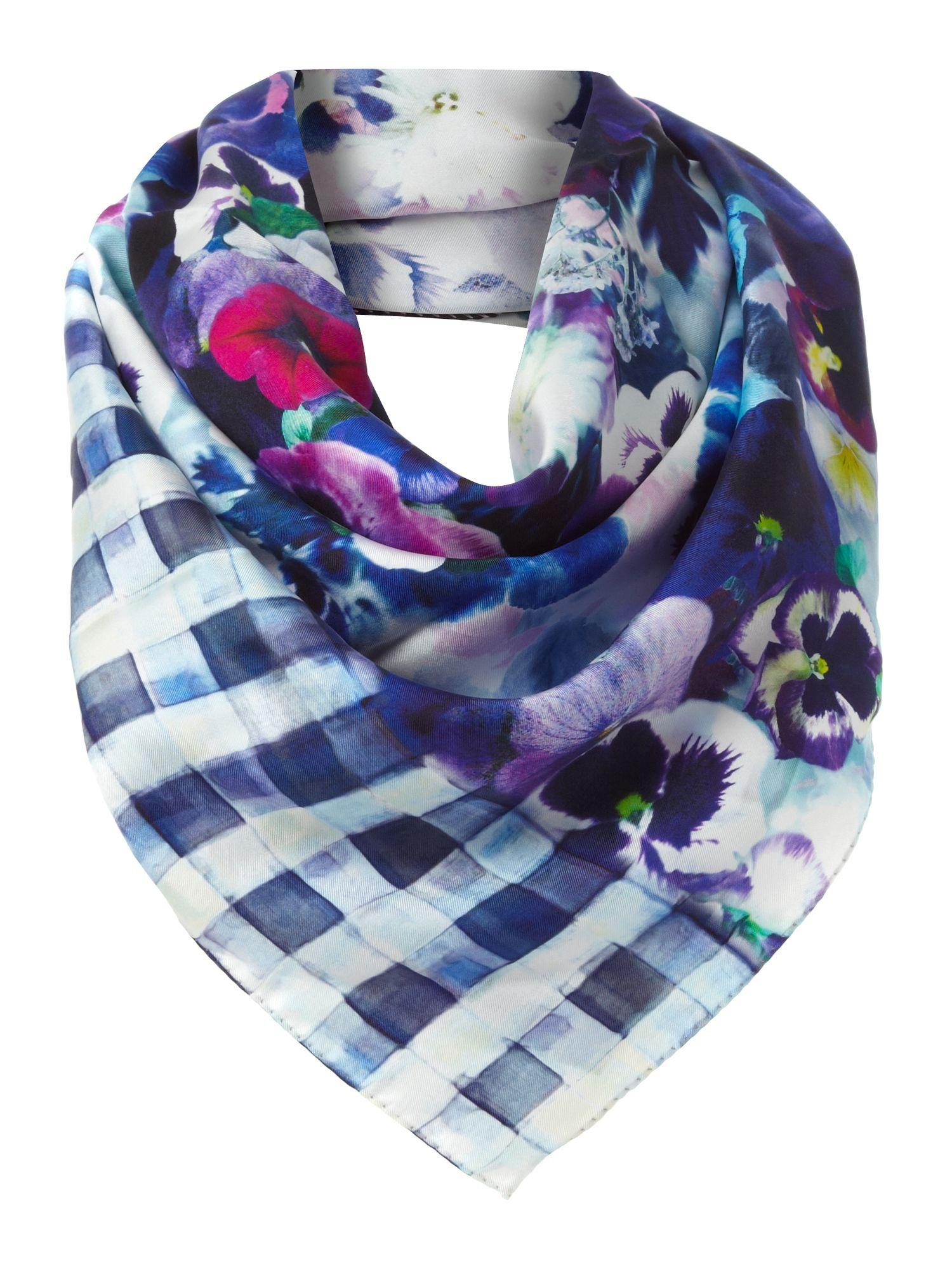 Silk pansy check scarf