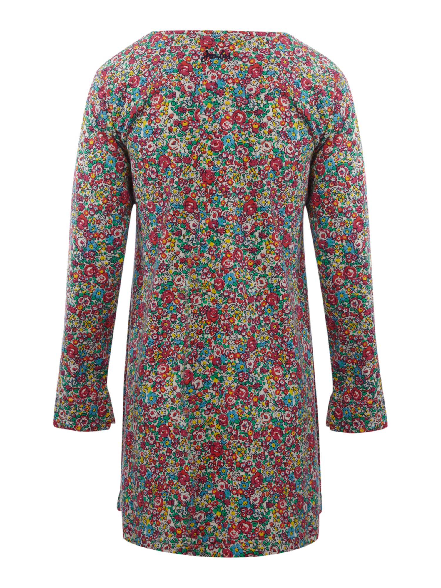 Girl`s ditsy floral print smock dress