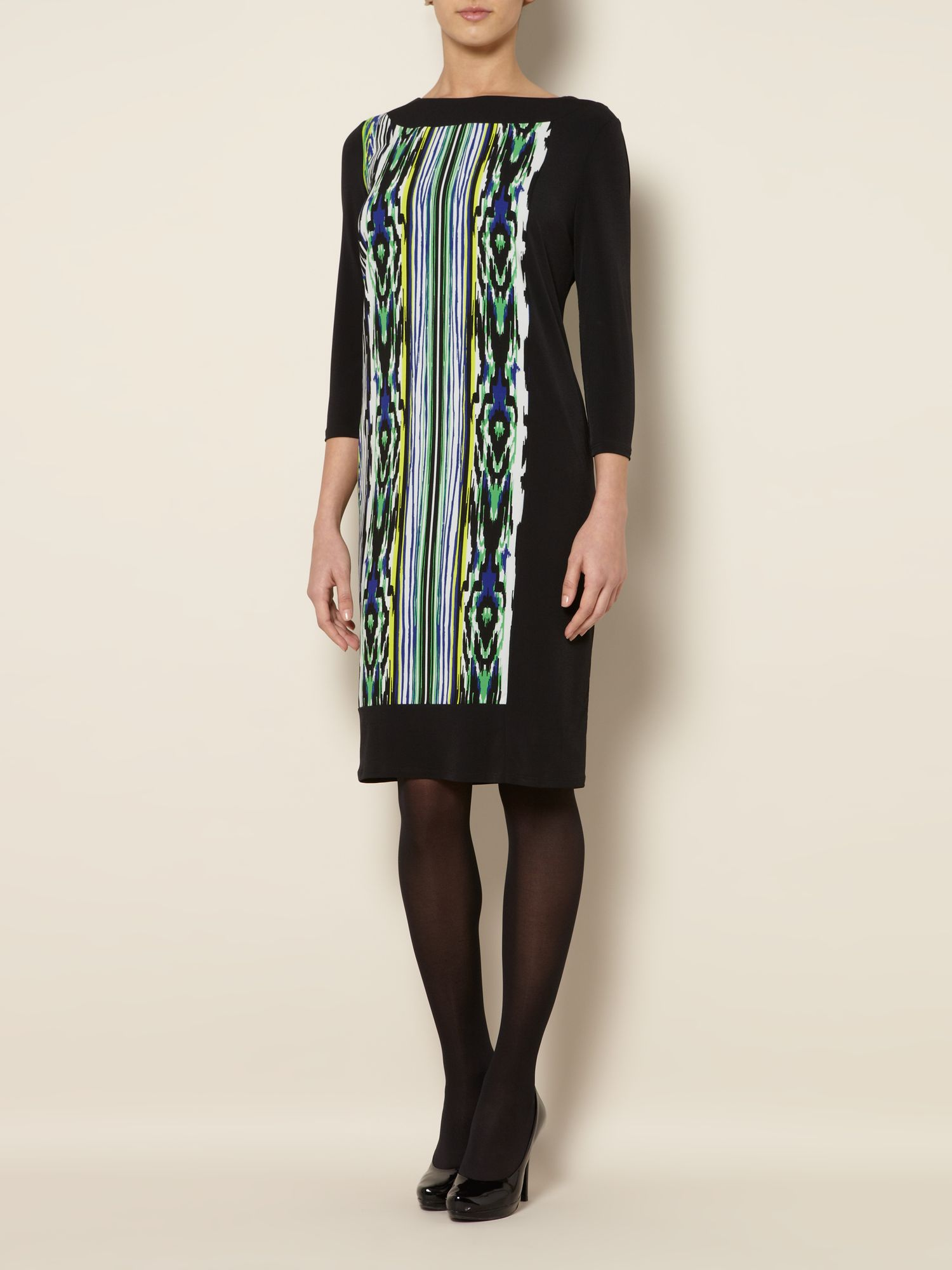 Graphic ikat woven & jersey tunic dress
