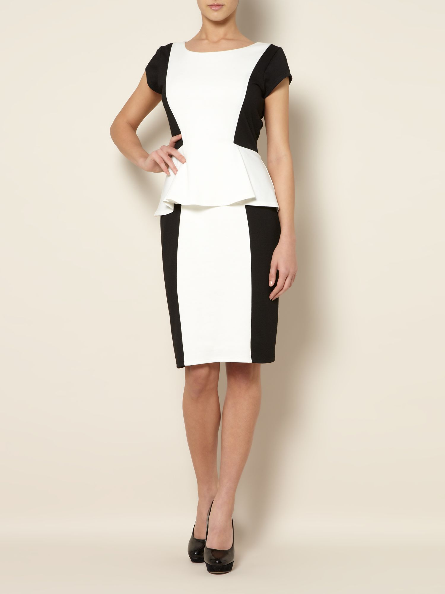 Colourblock peplum ponte dress