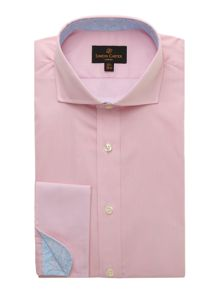 Simon Carter Double cuff poplin shirt with paisley trim