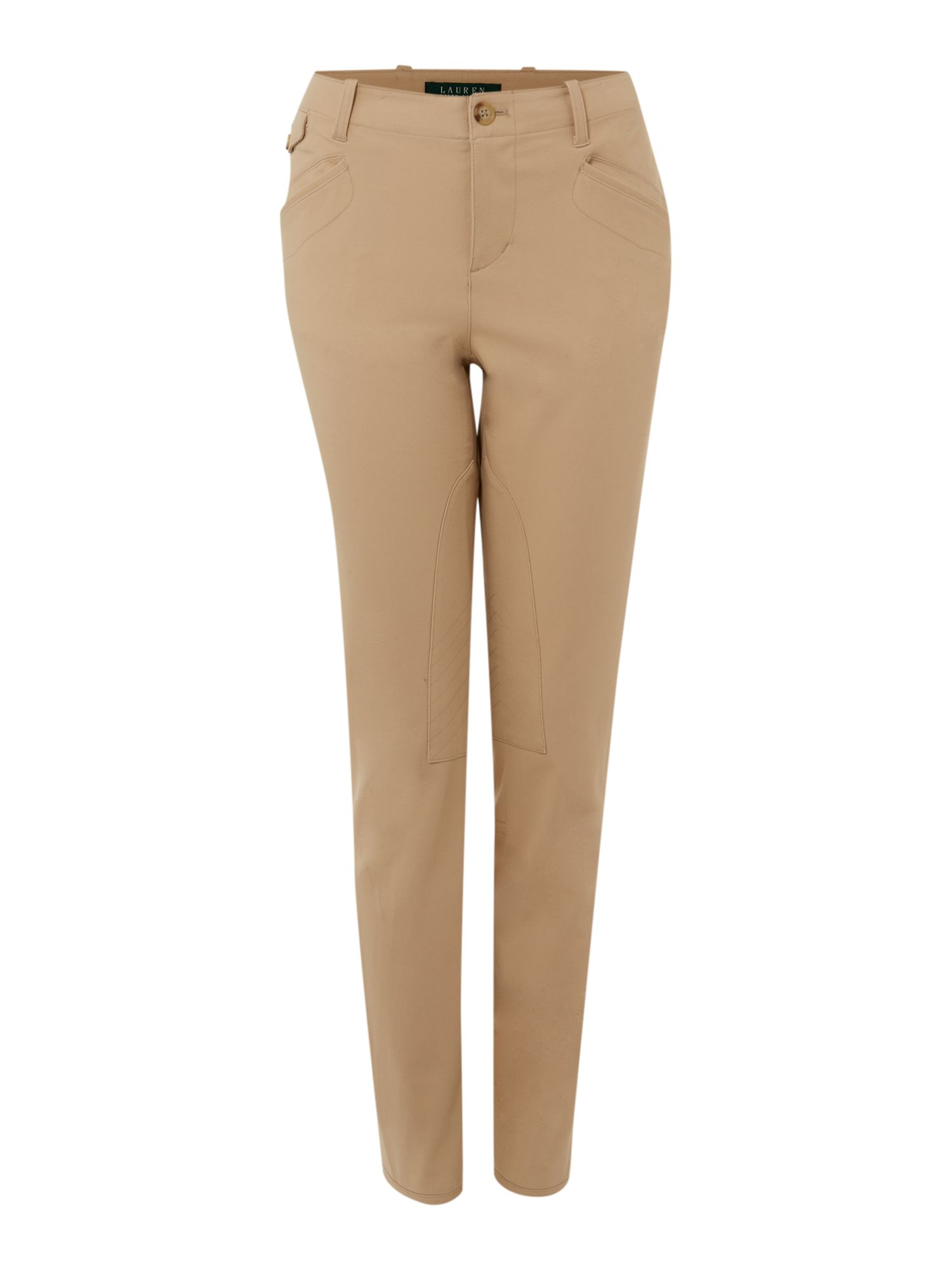 Slim fit stretch trousers with button detail