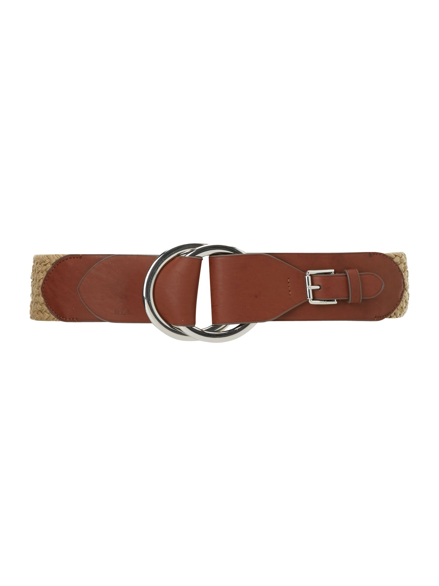 Cord belt with leather tab
