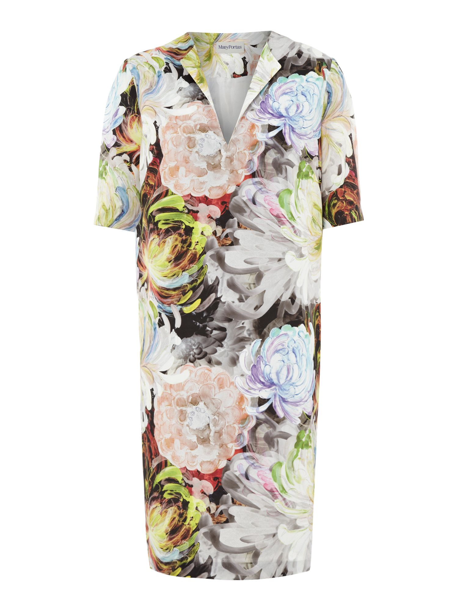 Drawn floral tunic dress
