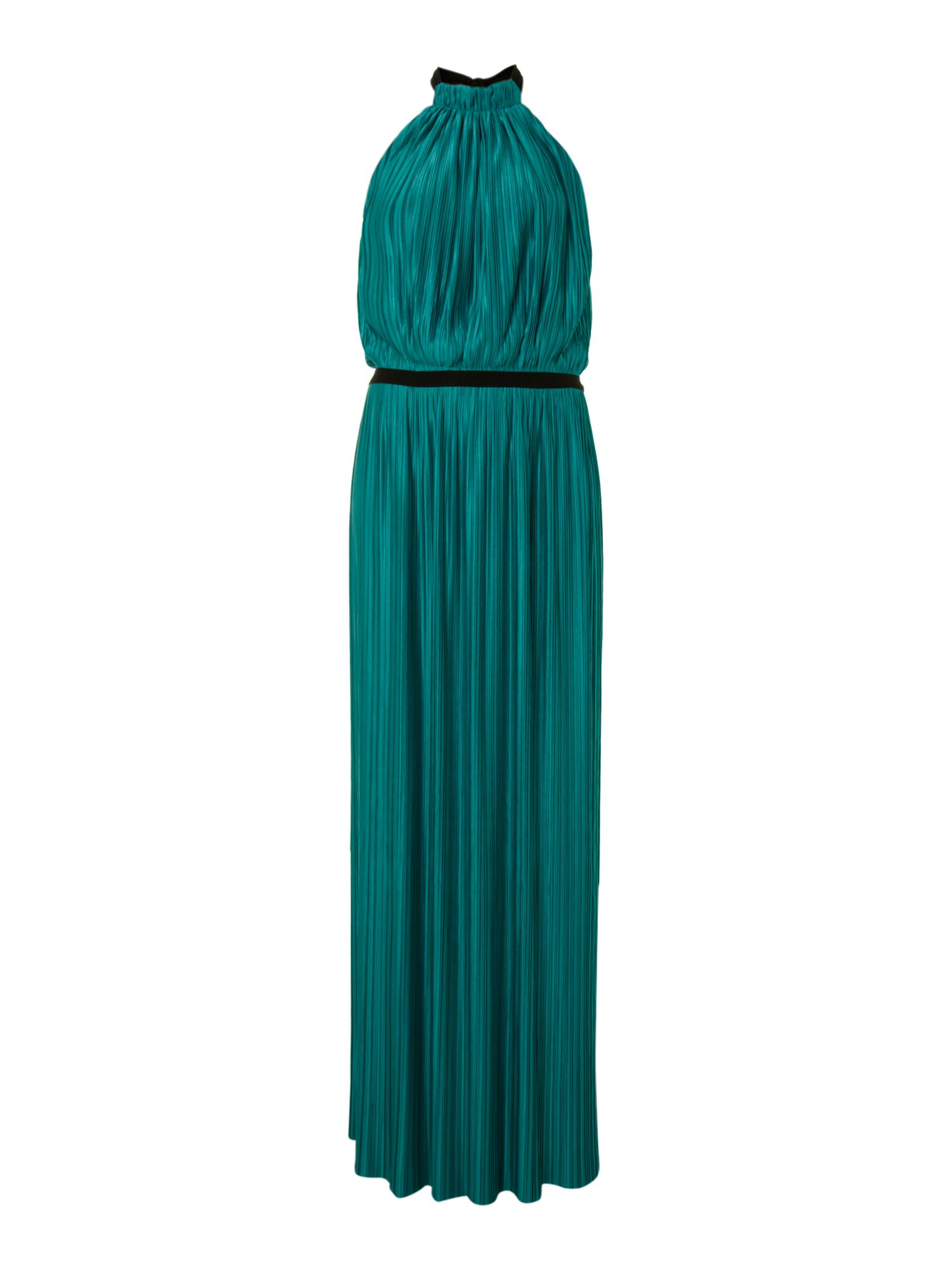 Love Moschino Pleated halterneck maxi dress, Teal