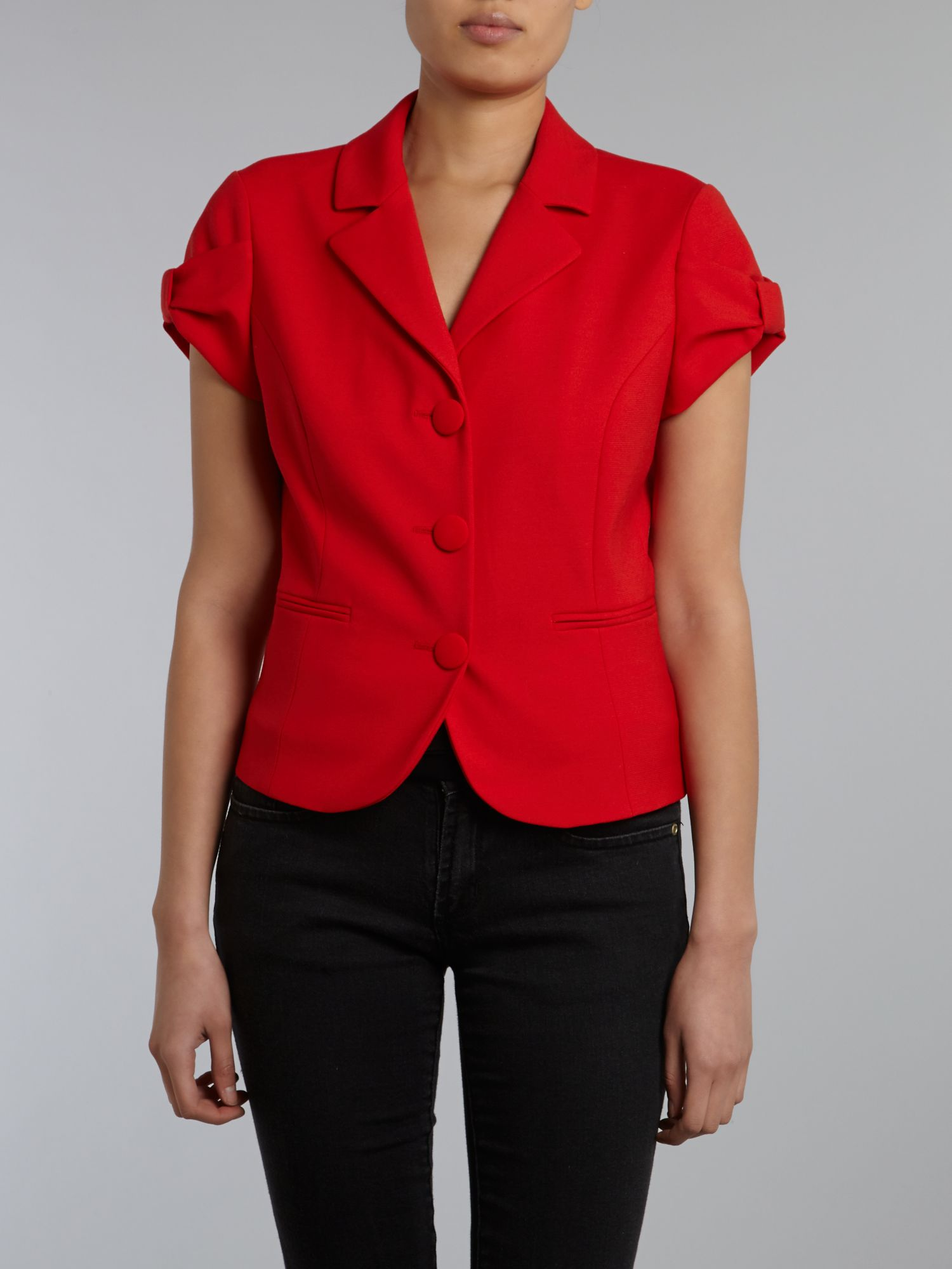 Cropped short sleeved jacket with bow detail
