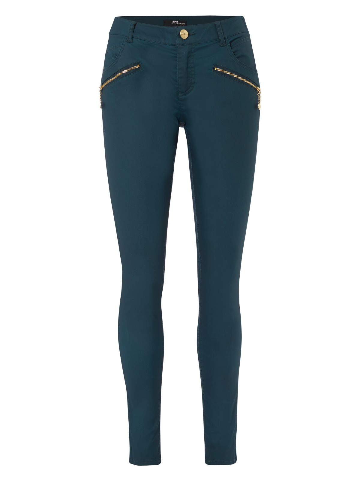 Coated zip skinny jeans