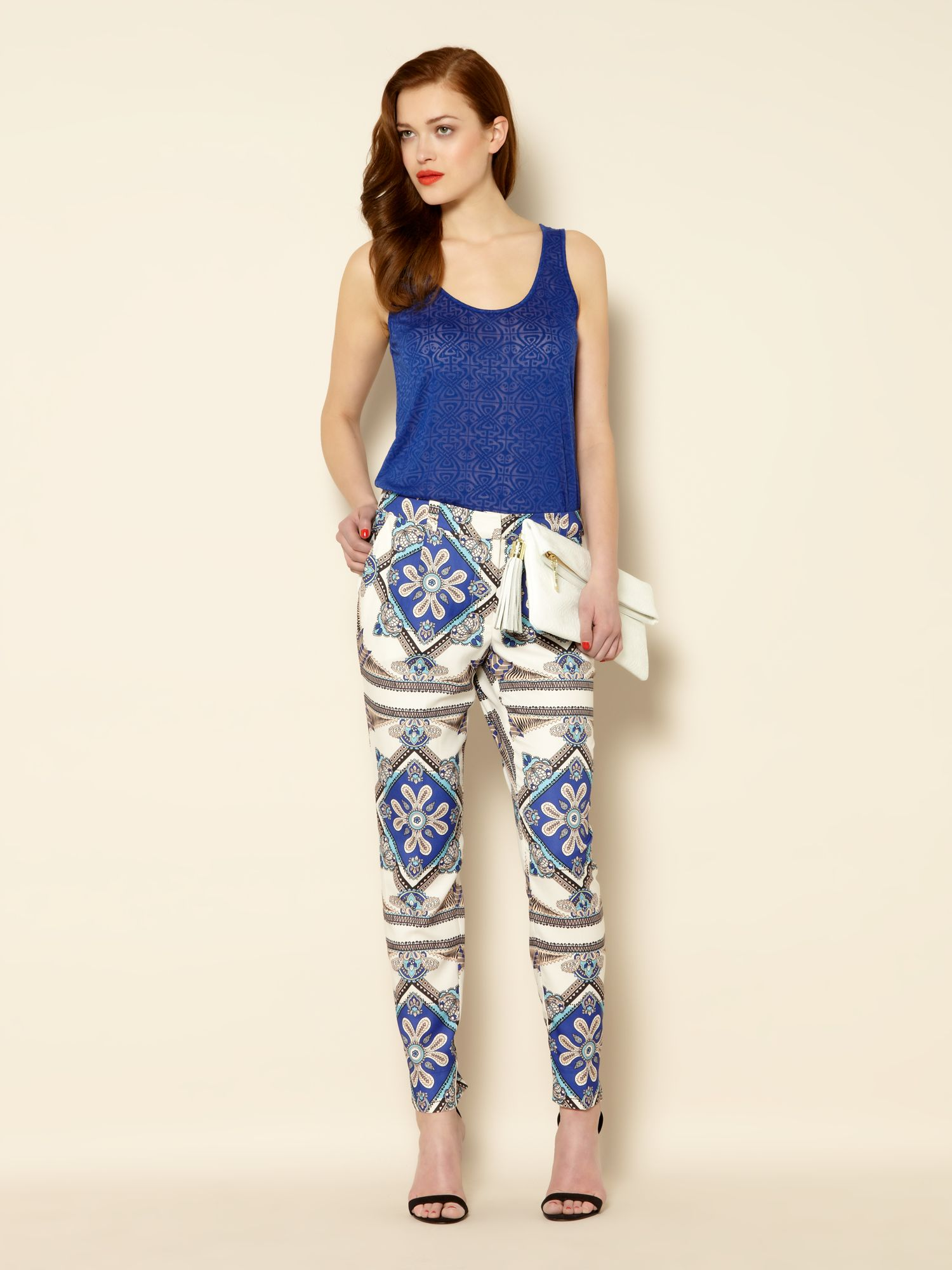 Scarf printed slim leg trousers