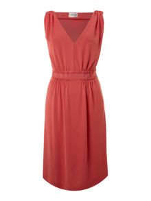 Sleeveless deep v neck dress