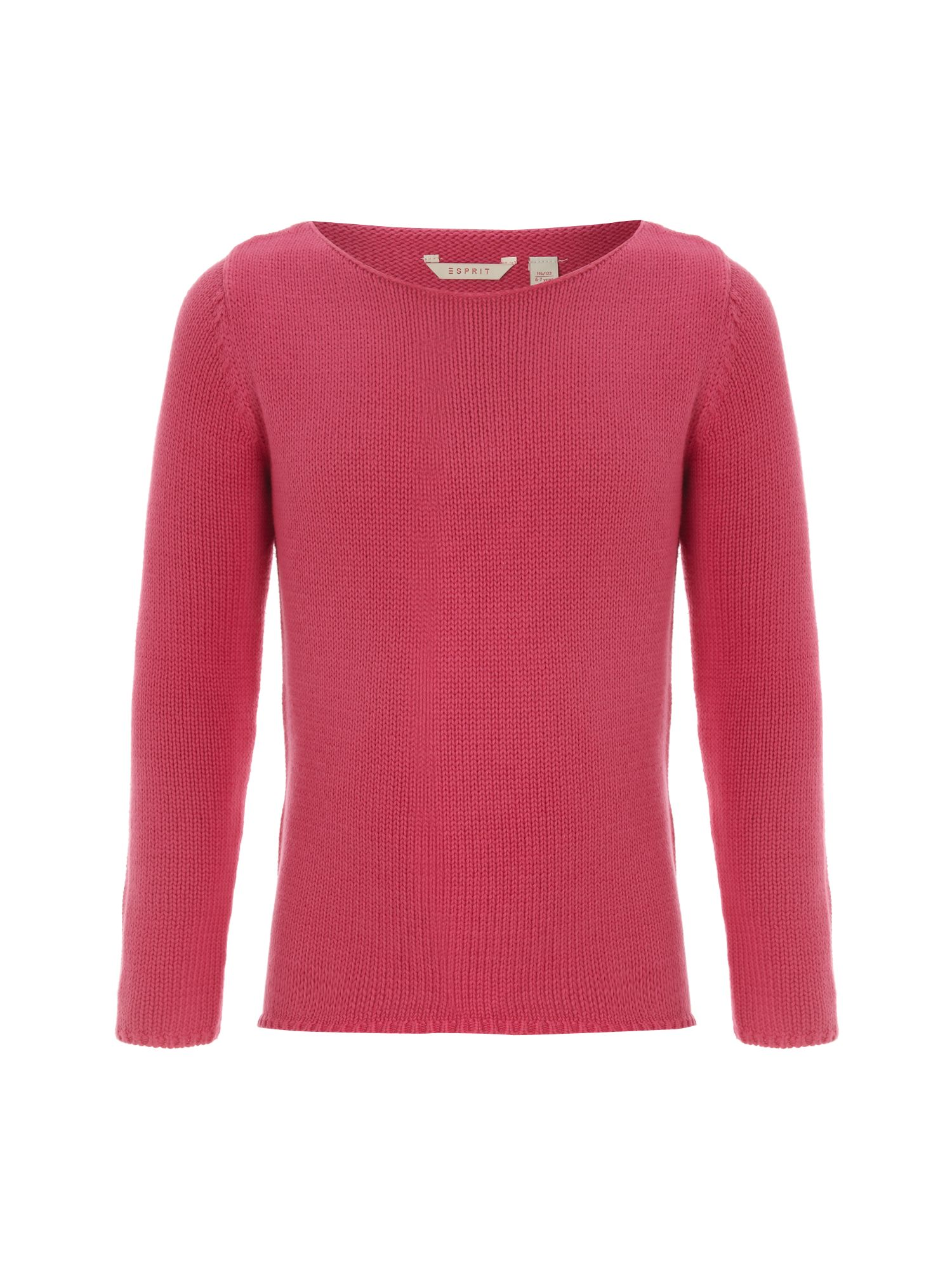Girl`s pink crew neck jumper