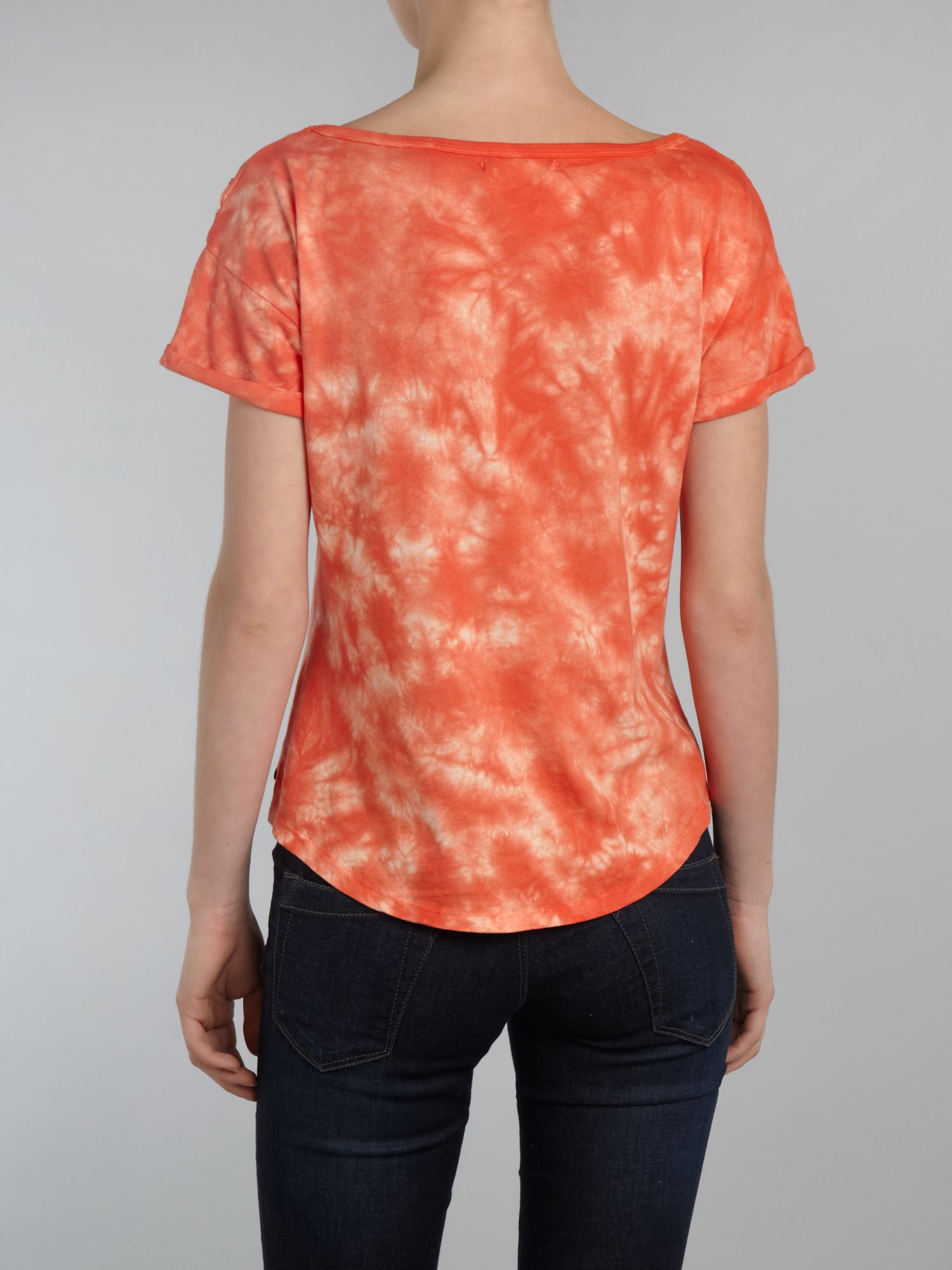 Short sleeved decon tie dye top