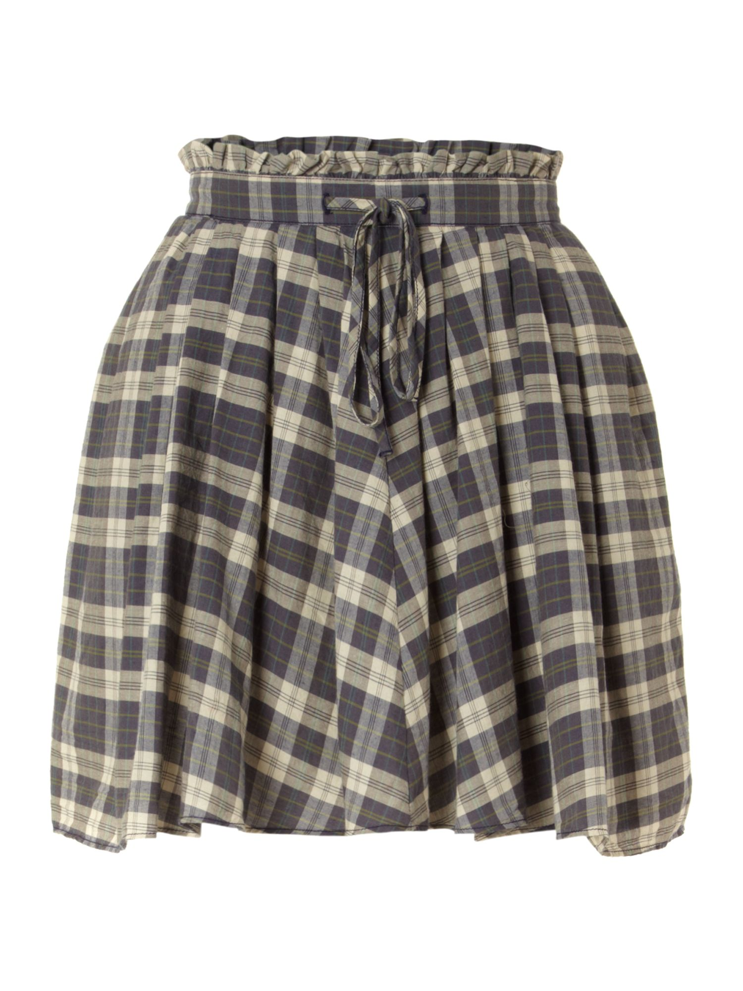Draped check mini skirt