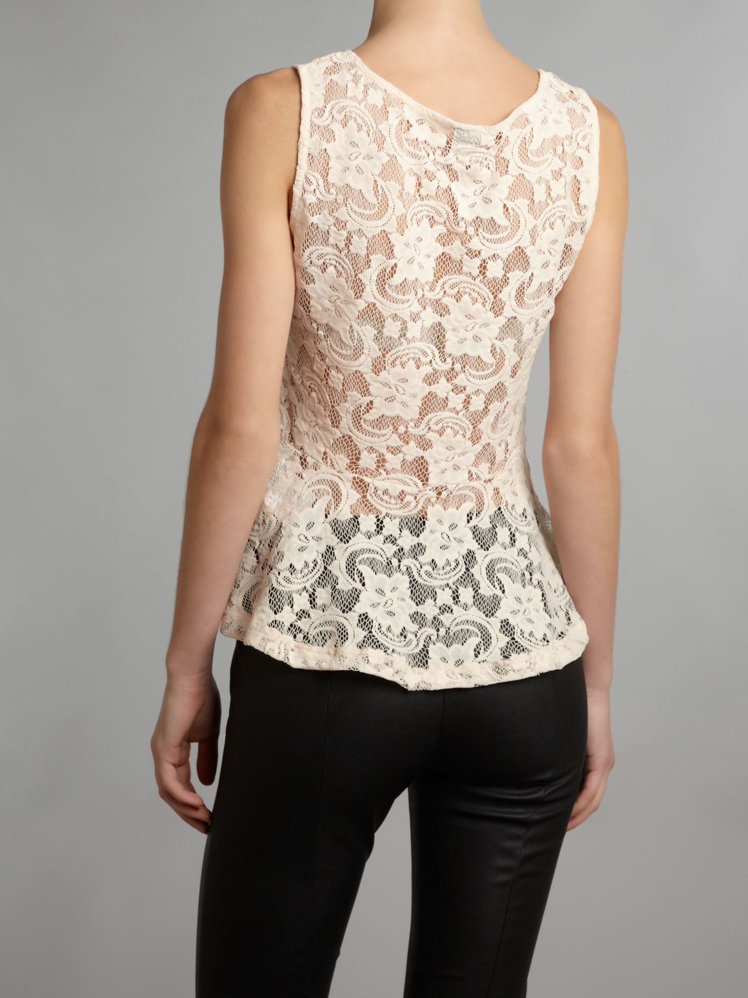 Short sleeve lace collar top