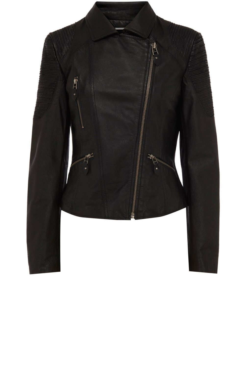 Slash detail leather jacket