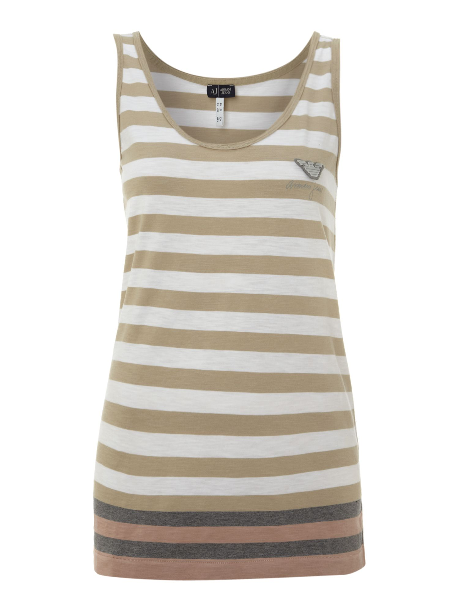 Sleeveless striped tank top with logo