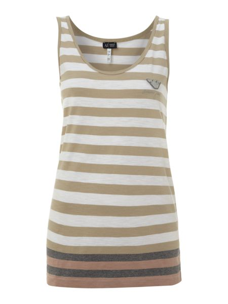 Armani Jeans Sleeveless striped tank top with logo