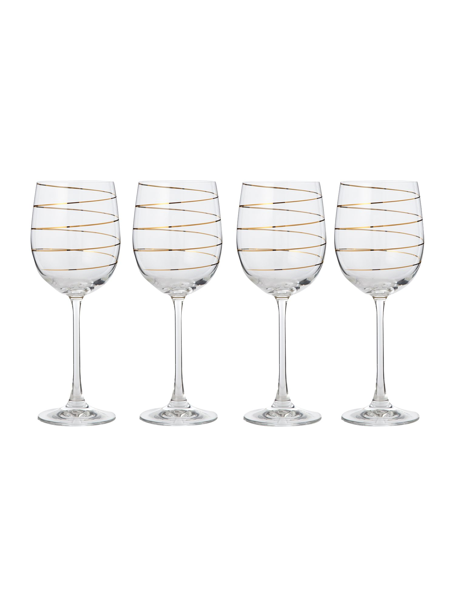 Gold spiral wine glasses set of 4