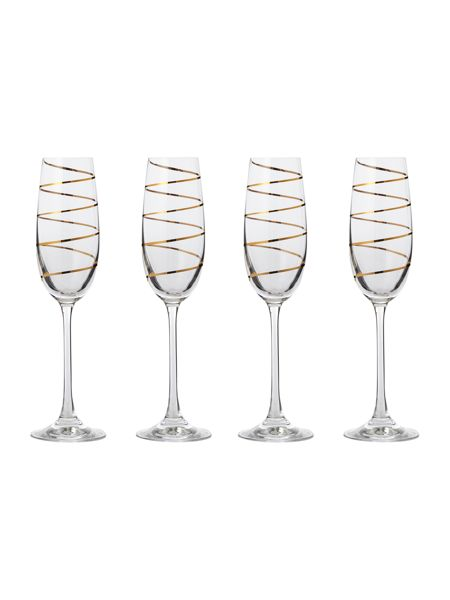 Pied a Terre Gold spiral champagne flute set of 4