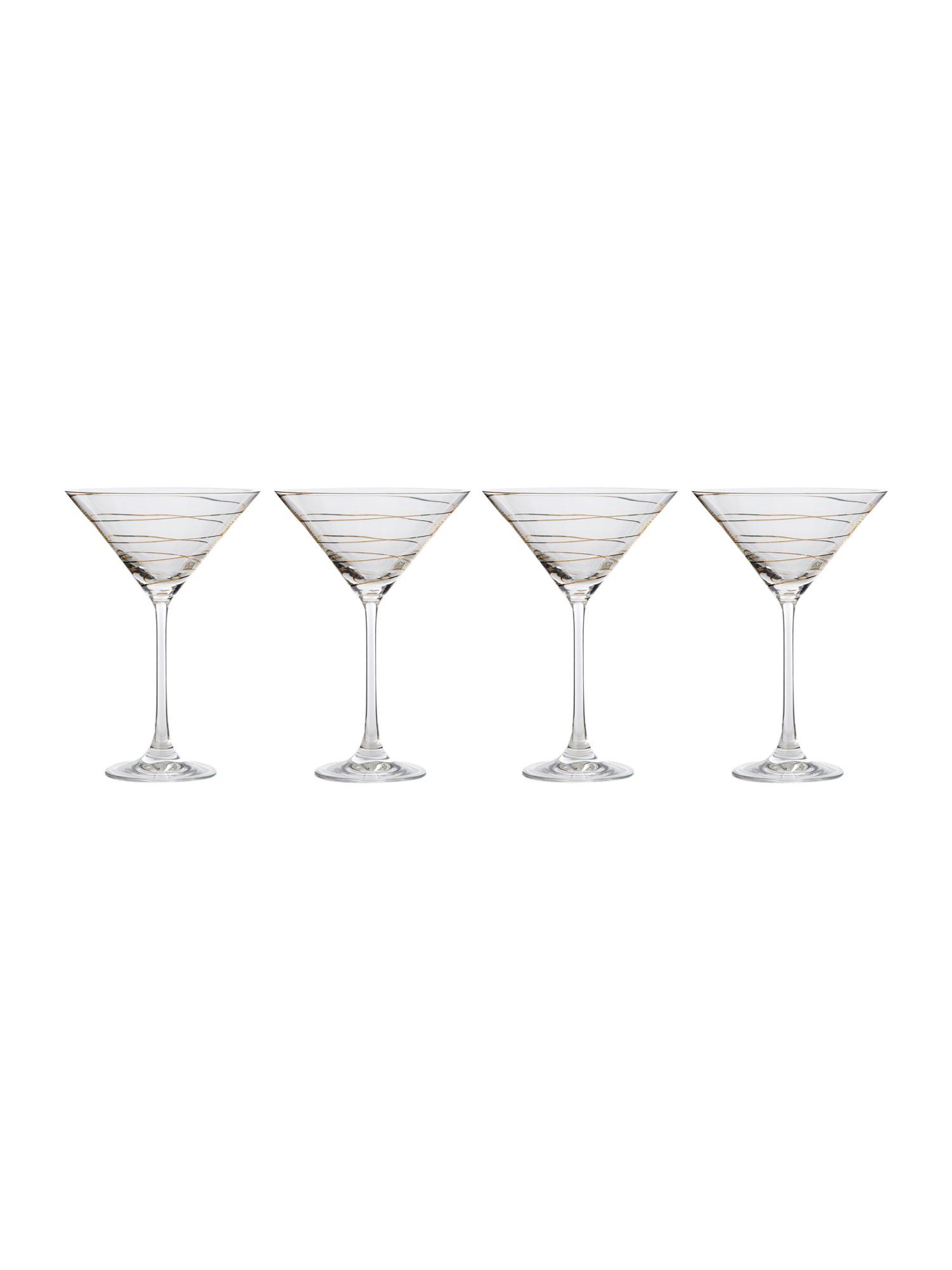 Gold spiral martini glasses, set of 4