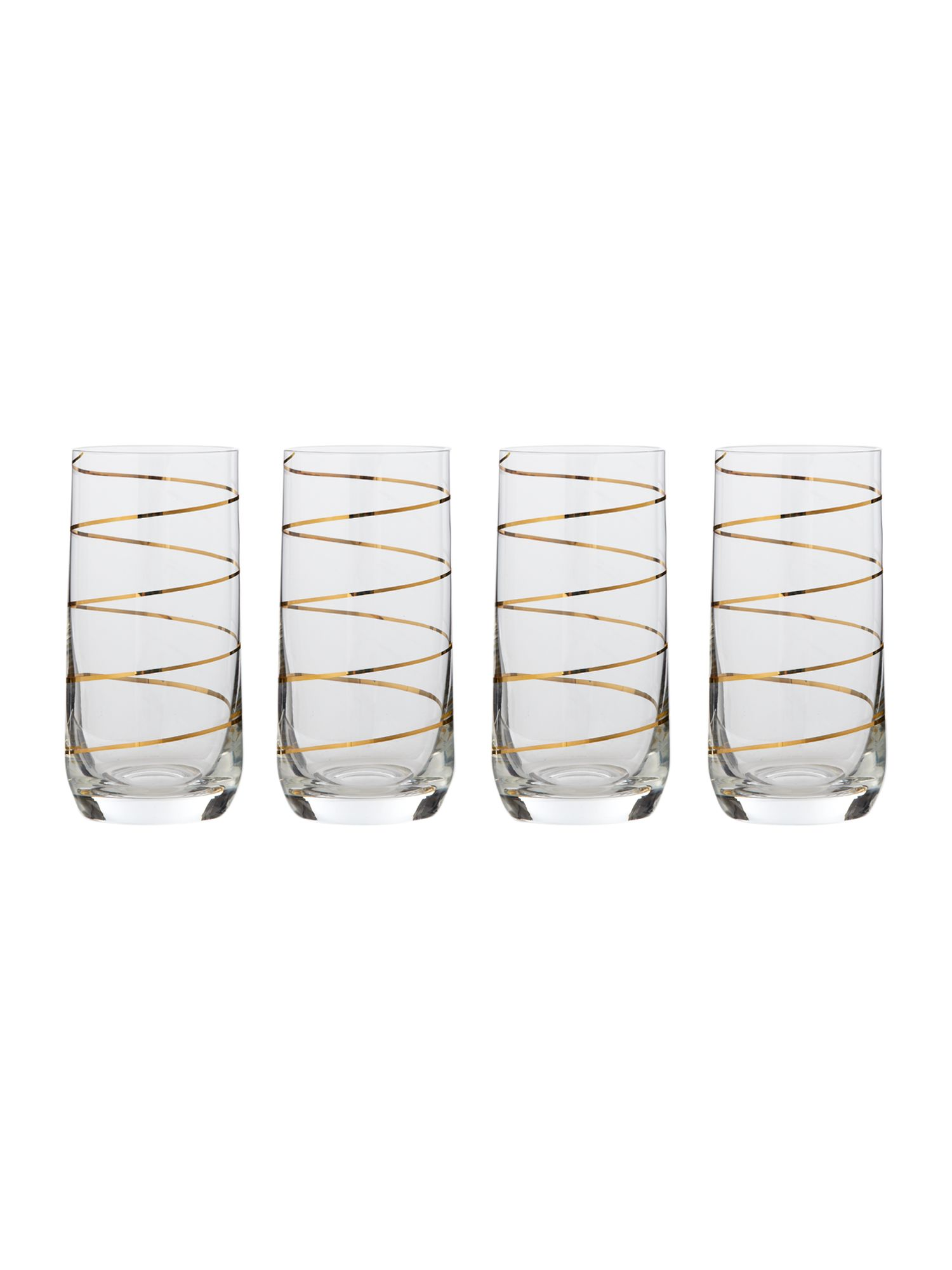 Gold spiral hi ball glasses set of 4
