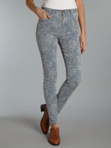 The High Waist Crop Skinny floral jeans
