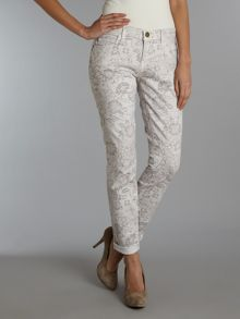 The Rolled Skinny jeans in Sandstone Lace