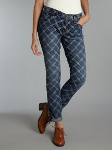 The Rolled Skinny jeans in Indigo Rose Lattice