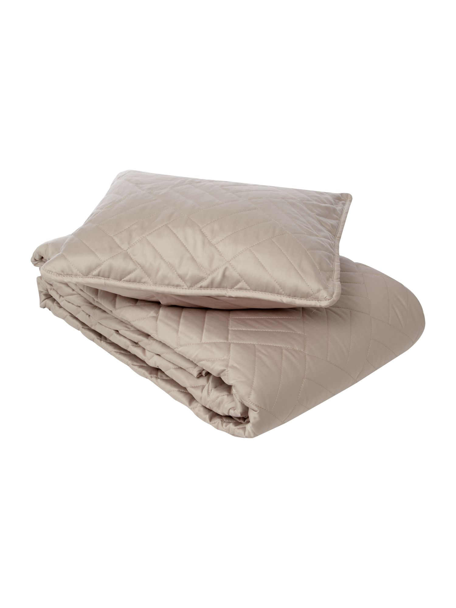 Quilted bedcover and cushion in oyster