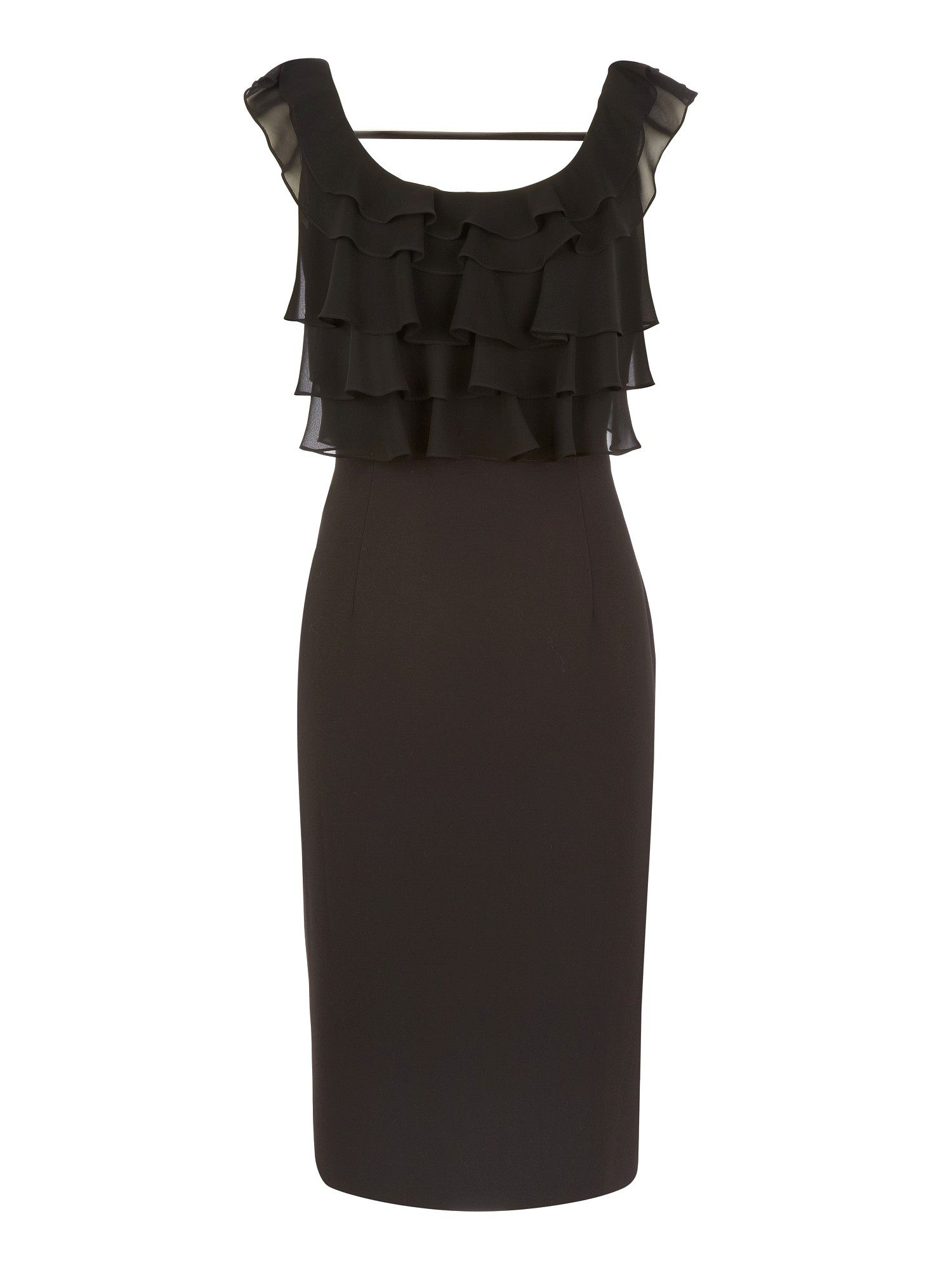 Black ruffle front dress