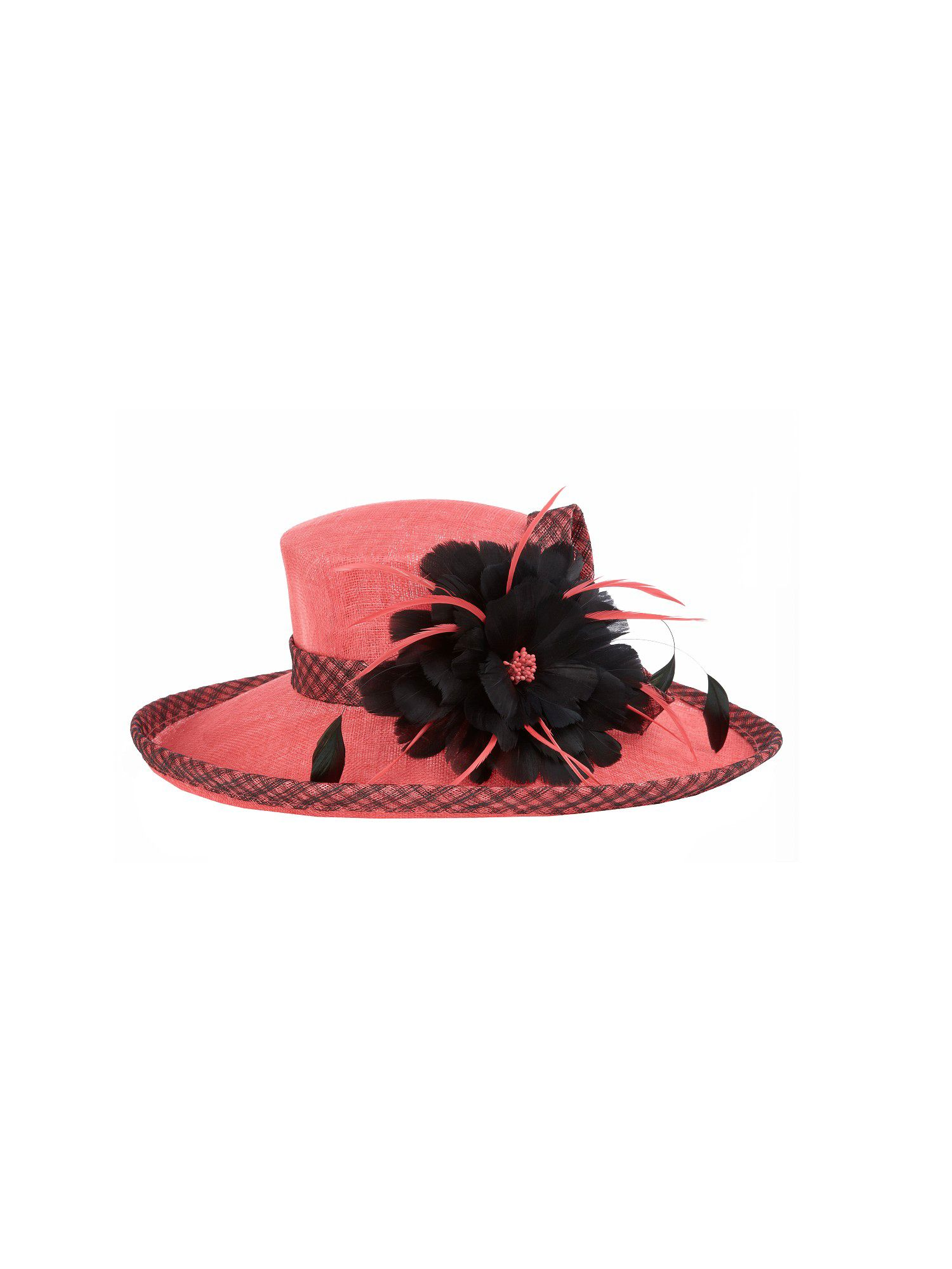 Flamingo contrast feather hat