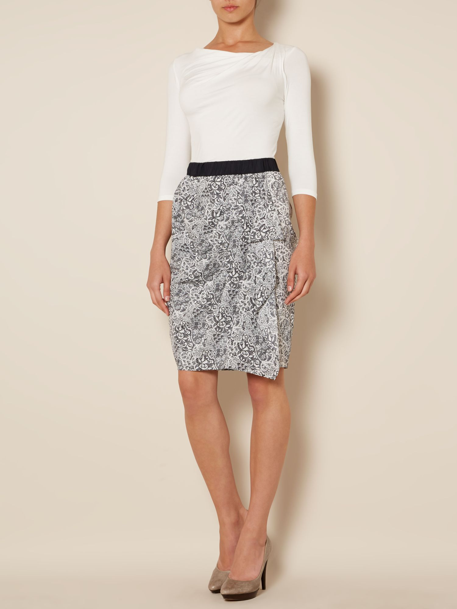 Lace print wrap skirt