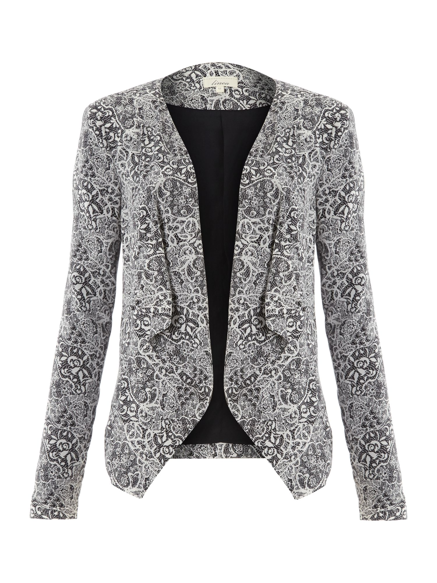 Lace print waterfall jacket