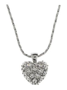Rhodium Heart Necklace With Crystal