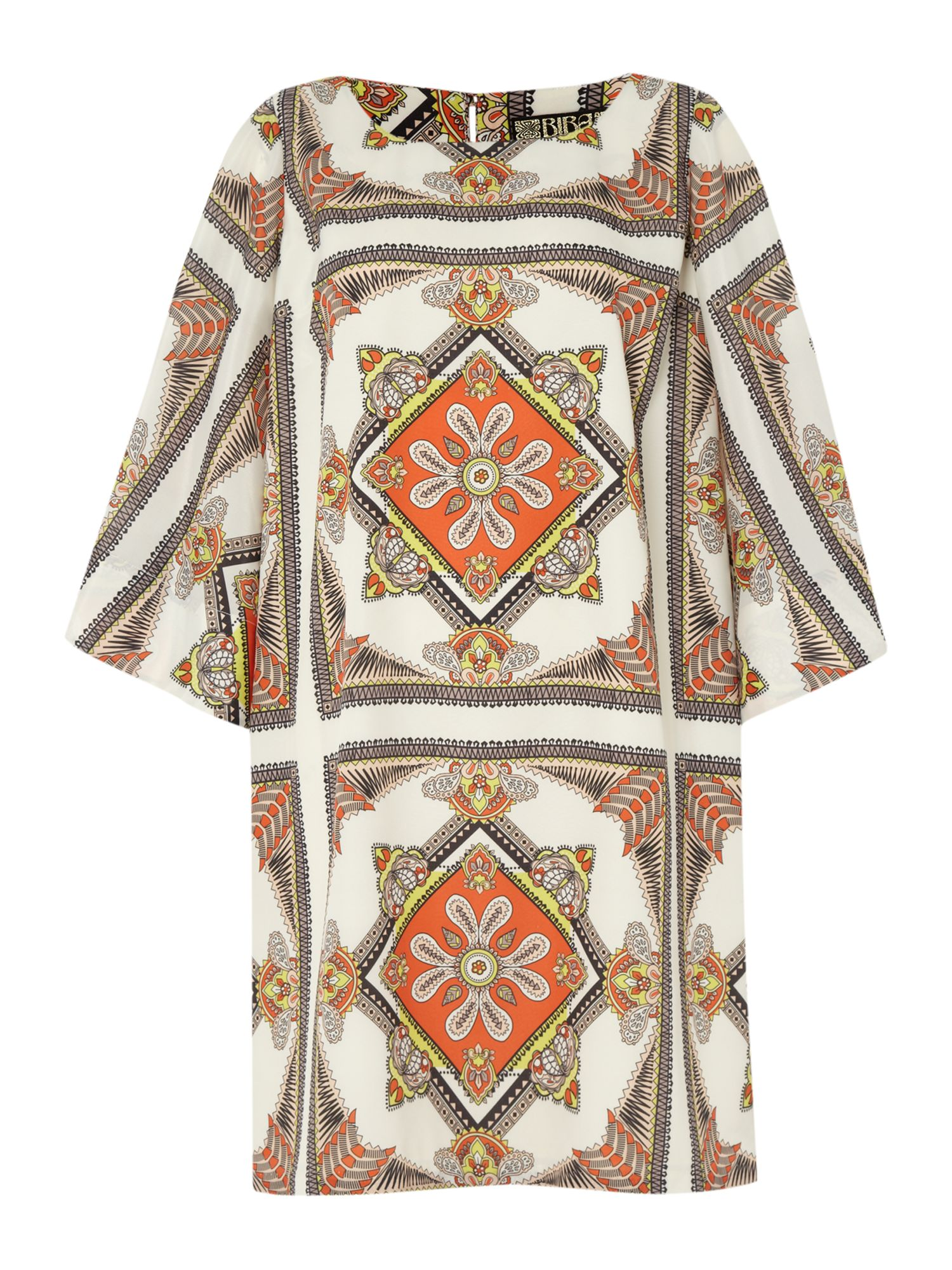 Scarf print kimono sleeve shift dress