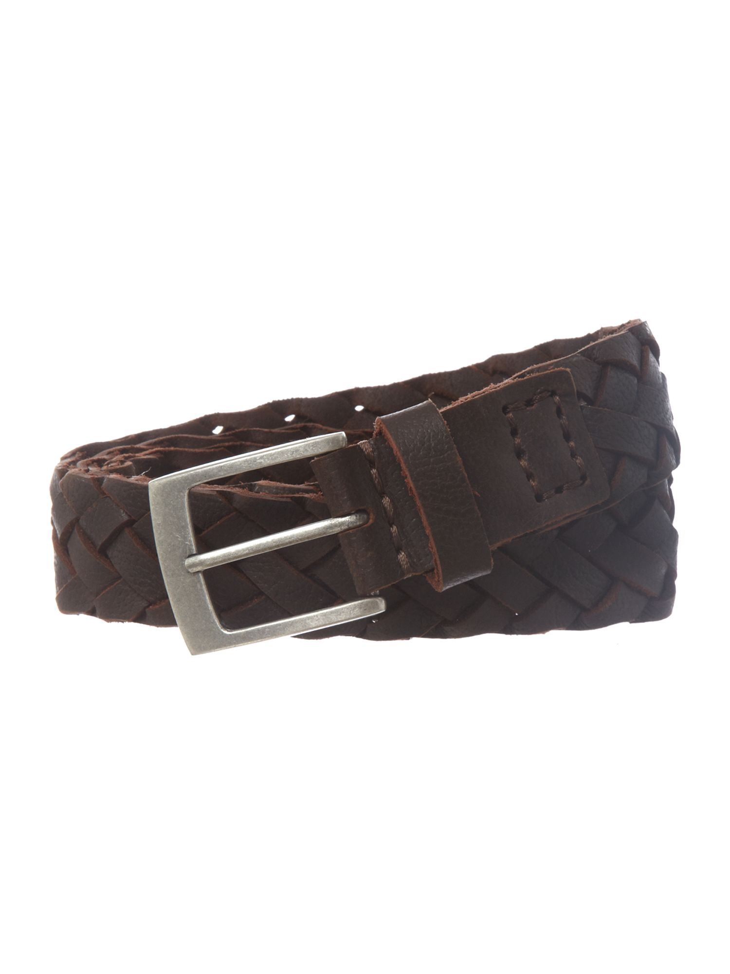 Leather plait belt