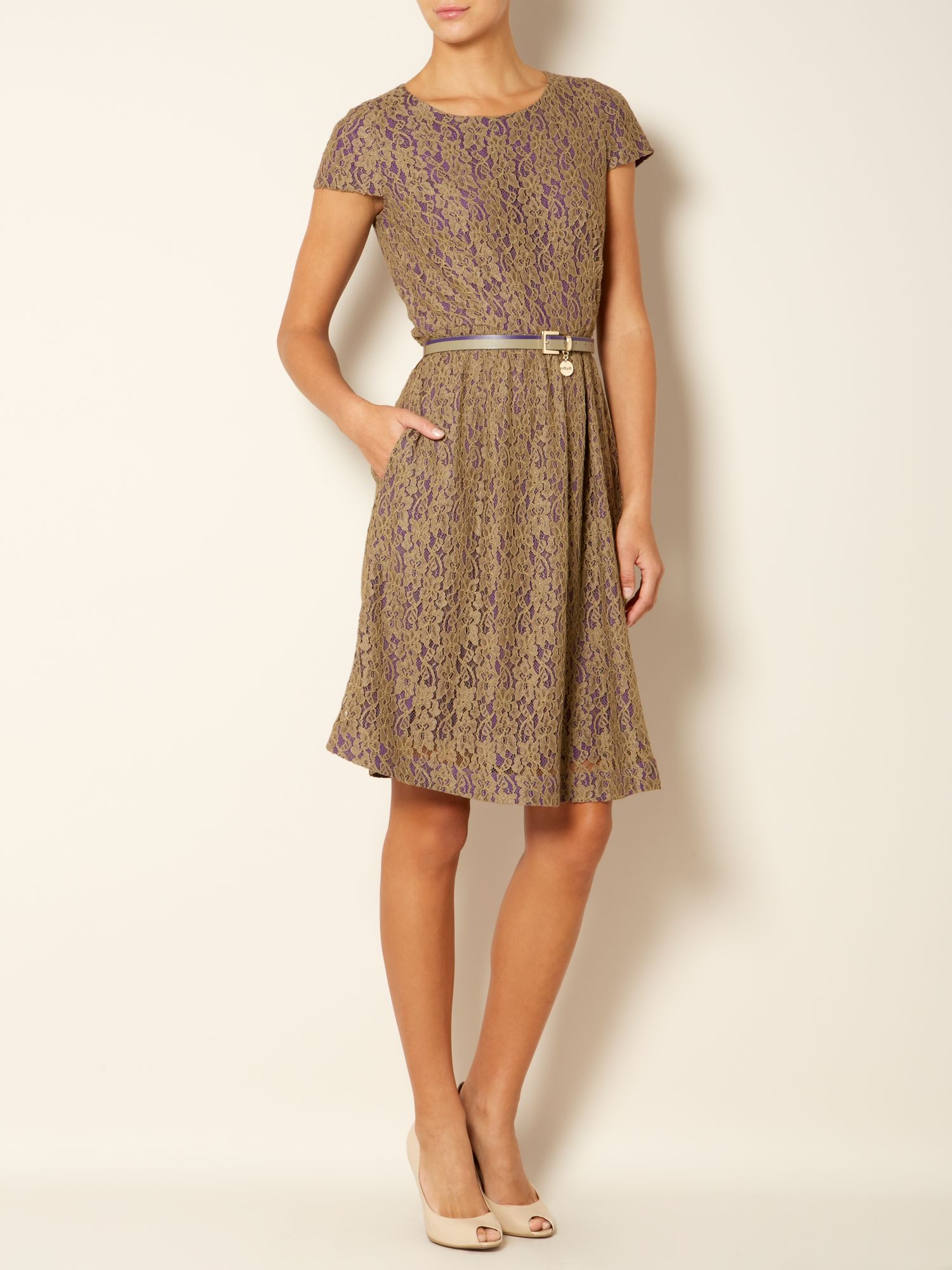 Sacha belted lace shift dress