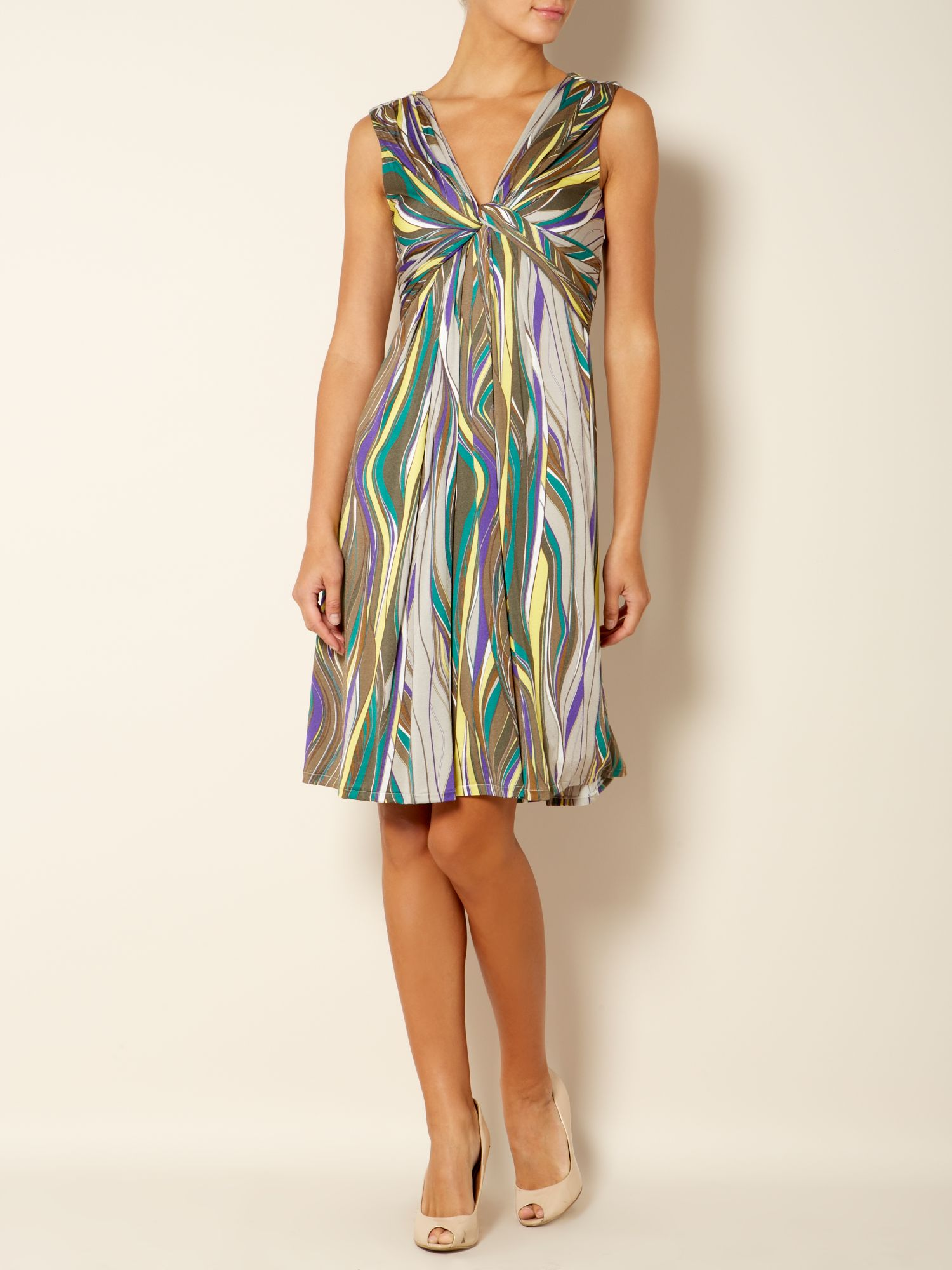 Vacillo striped shift dress with knot front