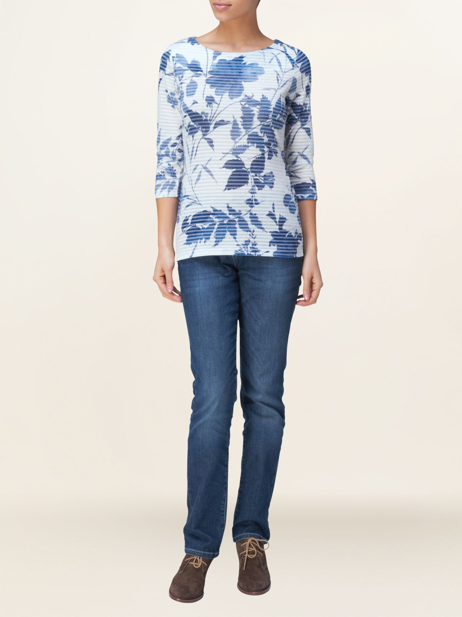 Shadow stripe floral top