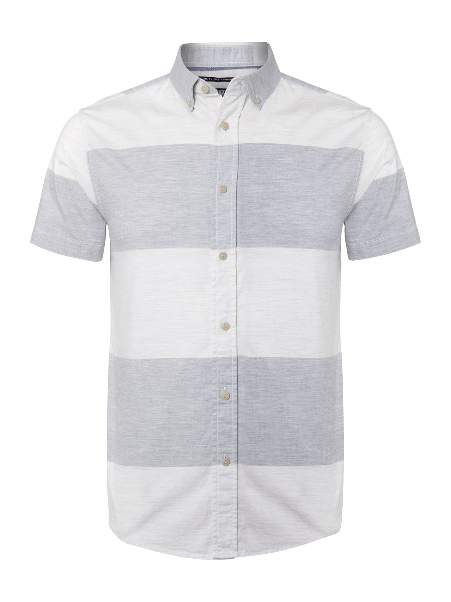 Block striped short sleeved shirt
