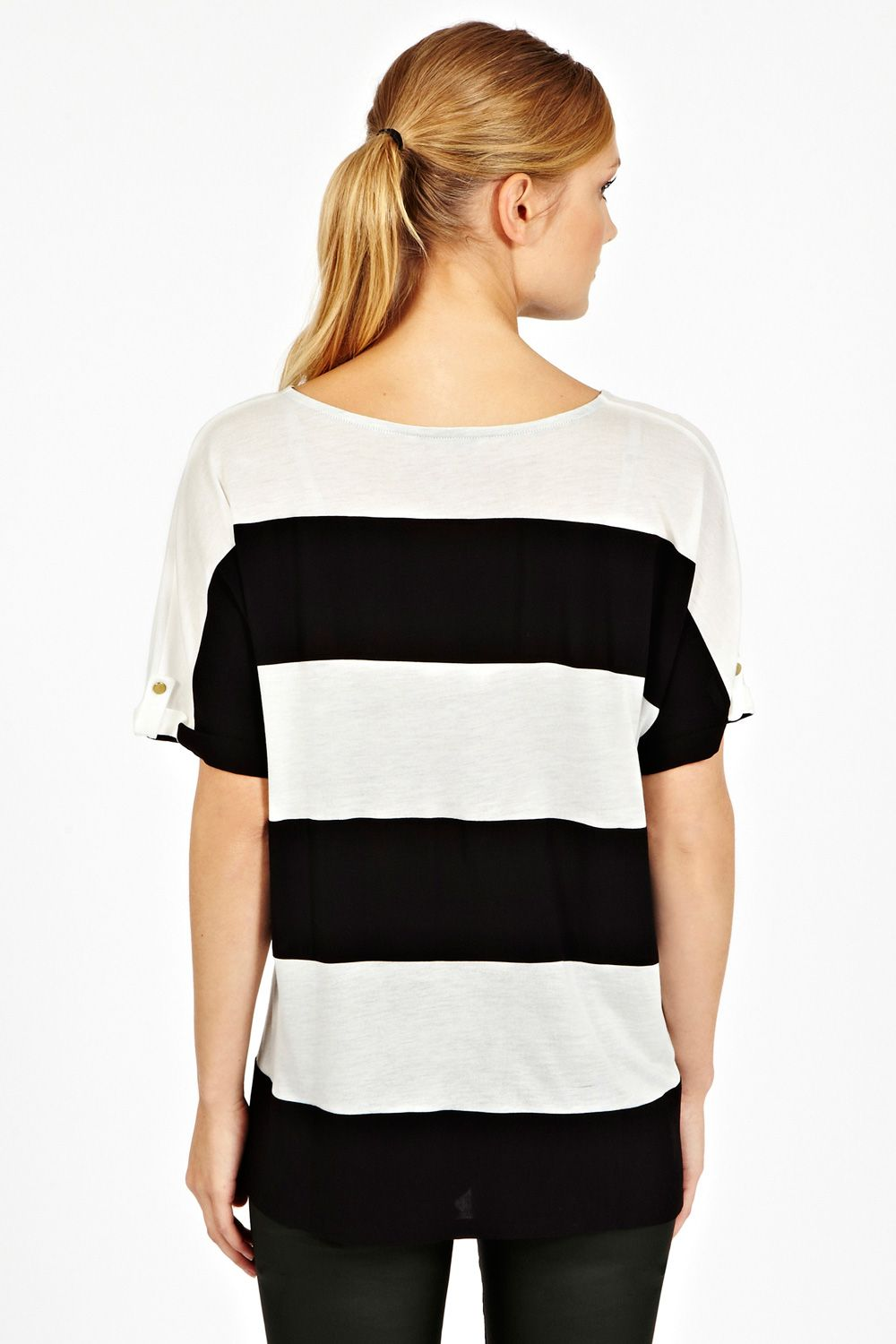 Colour block stripe tee