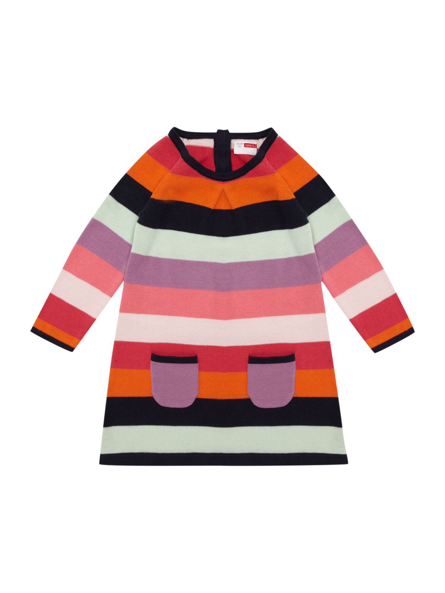 Girl`s multi-stripe knitted dress