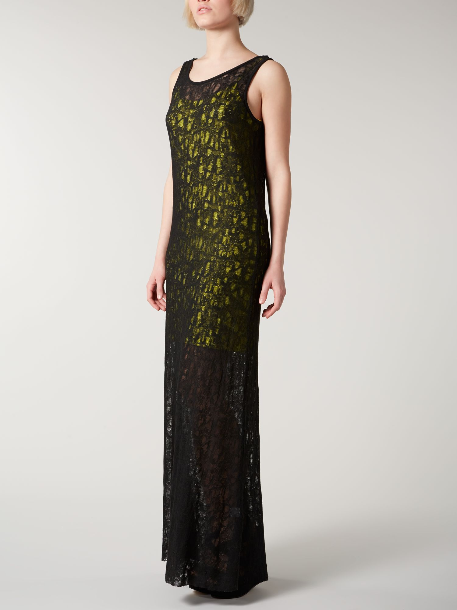 Cobweb maxi dress with contrast lining