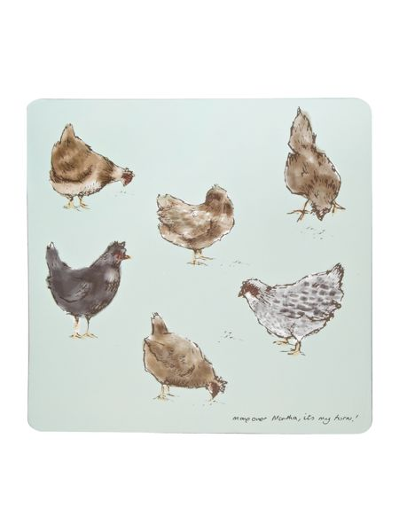 Inspire Watercolour chicken placemat set of 4