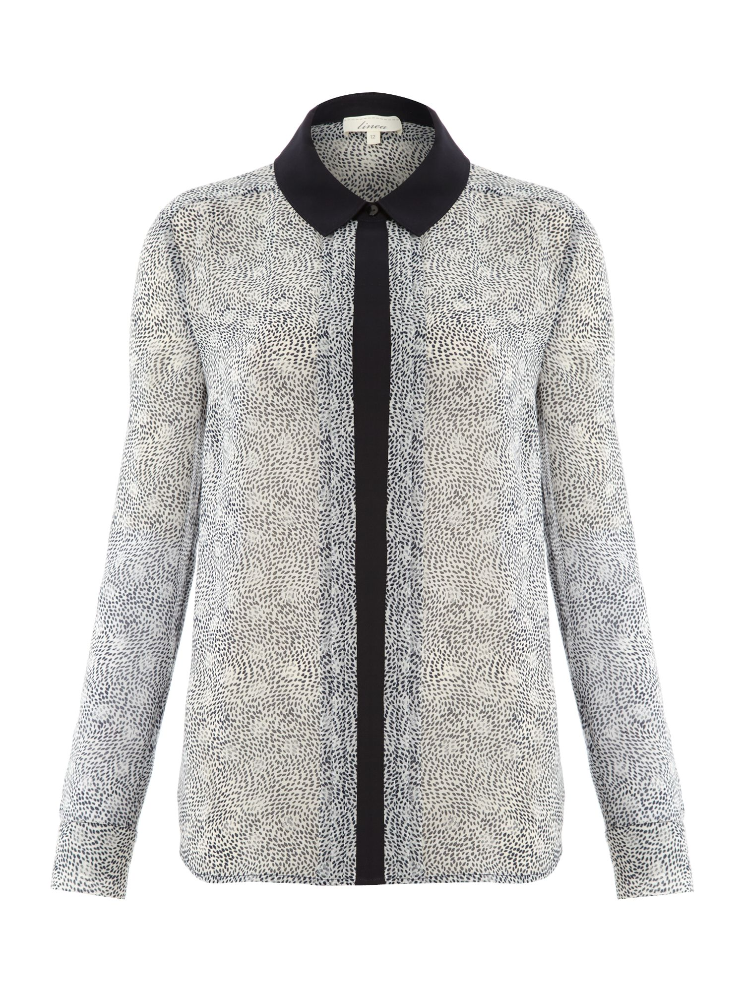 Spot/dash contrast collar shirt