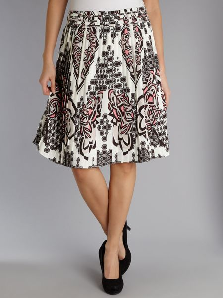 Adrianna Papell Printed pleat skirt