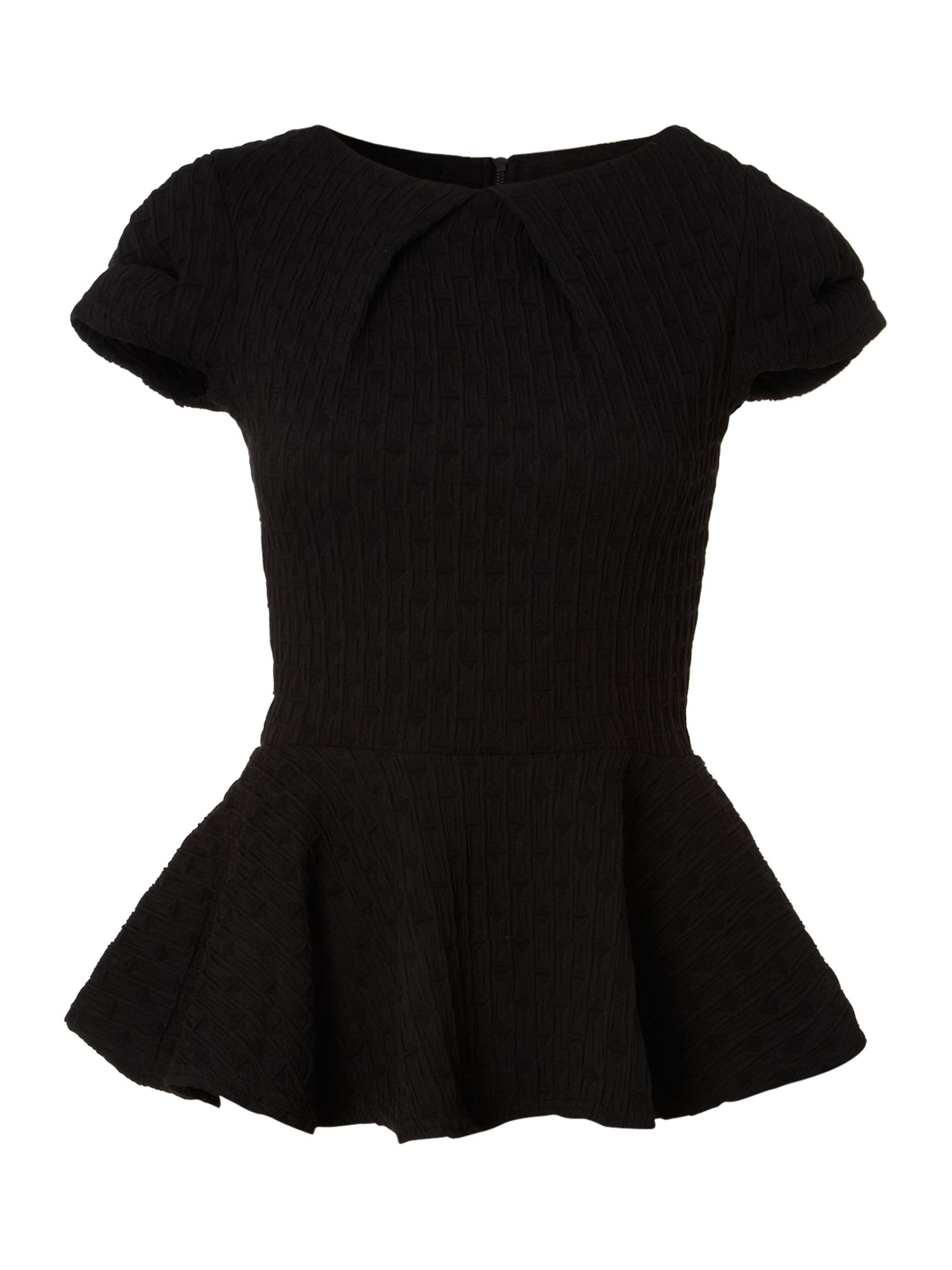 Pleat neck peplum top