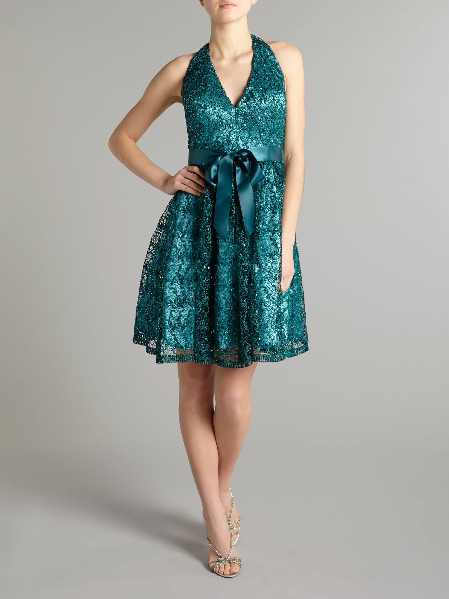 Lace sequin halter v neck dress